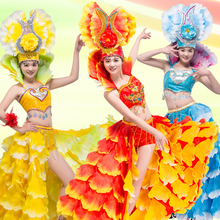 Buy spain brazil carnival stage prom singer costume red Fashion sexy set dress female ds performance wear dancer party nightclub for $101.25 in AliExpress store