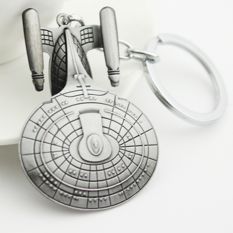 Free Shipping Sci-fi Movie Star Trek the Enterprise keychain Jewelry, The United StarShip Enterprise Model Metal Key chain(China (Mainland))
