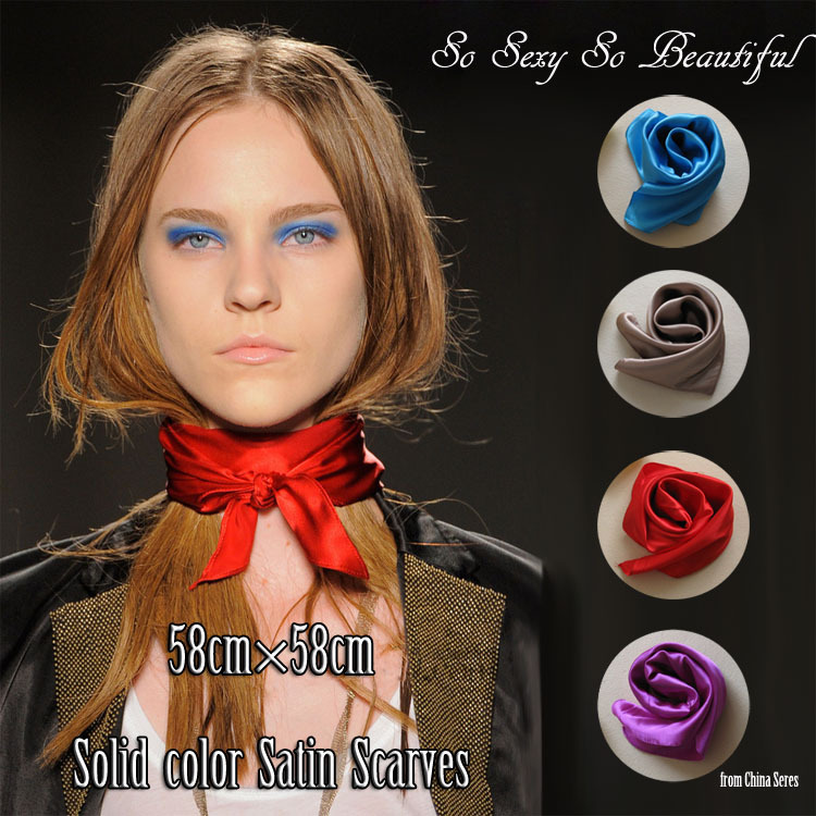 Small Plain Color Square Neckerchief Fashion 60cm Solid Color Muffler Silk Yellow Orange Brown Blue Black Scarf(China (Mainland))