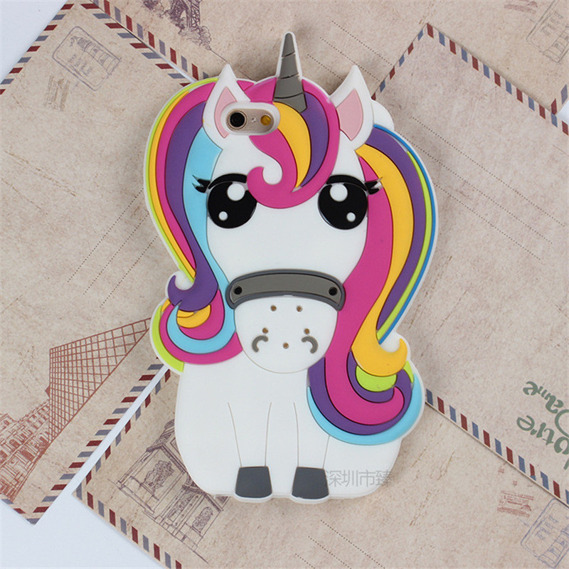 Cute 3D Cartoon Unicorn Phone Cases iPhone 5S 5G SE 6s 6G 6 Plus 7 7Plus Soft Silicon White Horse Back Cover Capa Funda  -  Christina's No.1 Store store