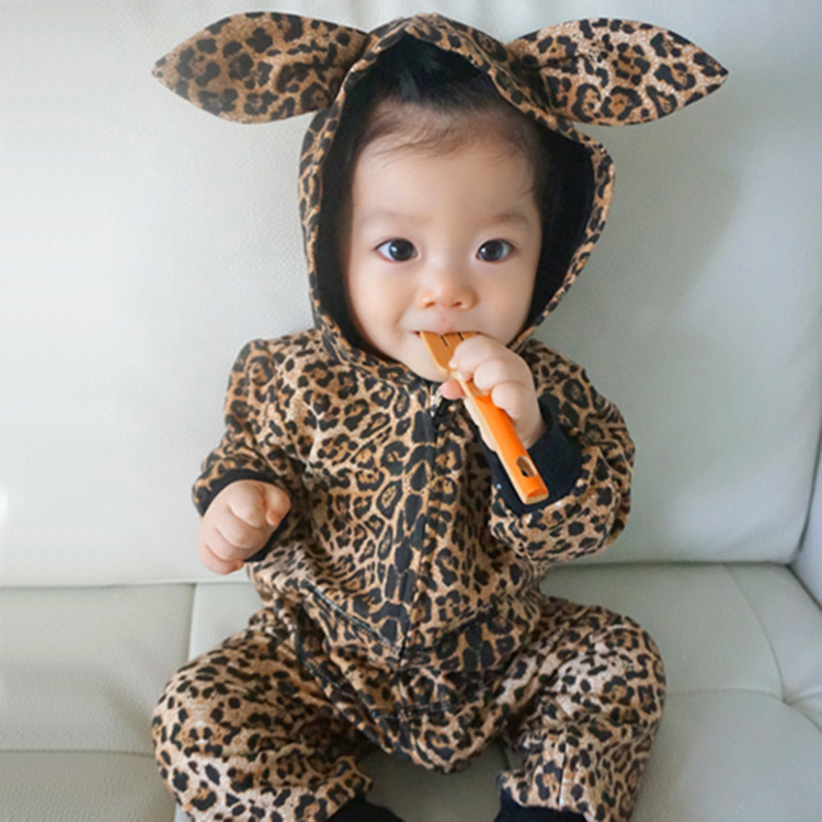 Baby Leopard Hoodie Romper With Ear Longsleeve One-piece Costumes Hooded coveralls Baby Boys Girl Clothing Menina 2015 New(China (Mainland))