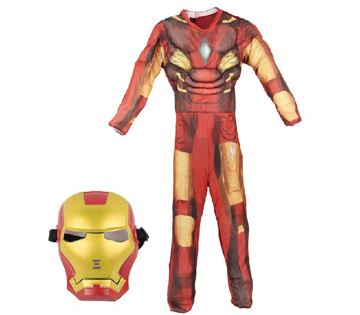 Free Shipping Kids Avengers Iron Man Muscle Costume Clothing Boys Outfit+Mask Cosplay(China (Mainland))