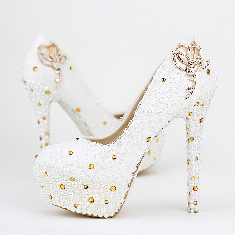 Pure white lace wedding shoes gold crystal diamond wedding shoes<br><br>Aliexpress