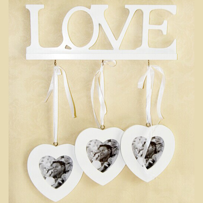3Boxes Heart Wooden photo frame home wall decoration LOVE Heart to Heart Frame fashion creative hook desgin frame(China (Mainland))
