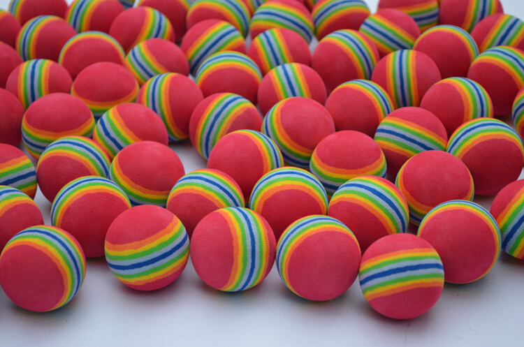 10pcs New for practice training sports rainbow soft sponge foam golf balls floating bolas equipment Free Shipping promotional(China (Mainland))