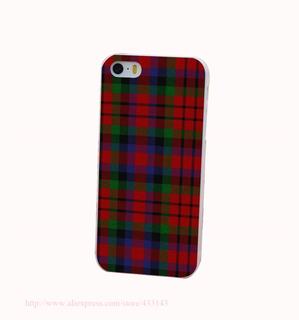 RED BLUE font b TARTAN b font SCARF FASHION Hard White Cover Case for iPhone 4