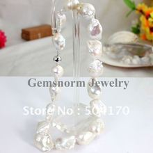 20-35mm Baroque Pearls Necklaces Pure 14k White Gold Clasp Free Shipping FP208(China (Mainland))