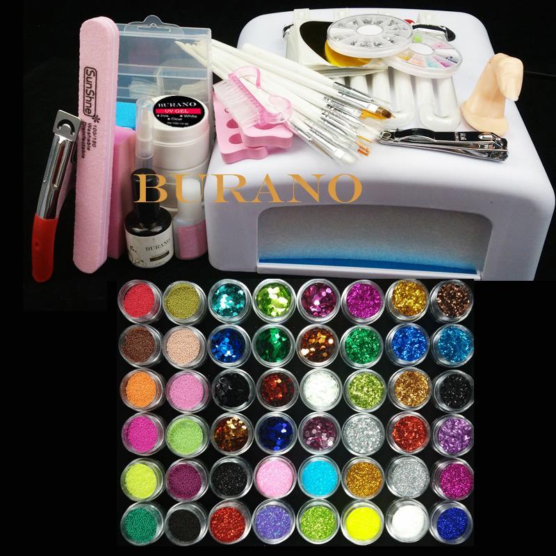 Pro Nail Art UV Gel Kits sets Tools 36w UV lamp Brush Tips Glue Acrylic Powder Set #004 manicure set(China (Mainland))