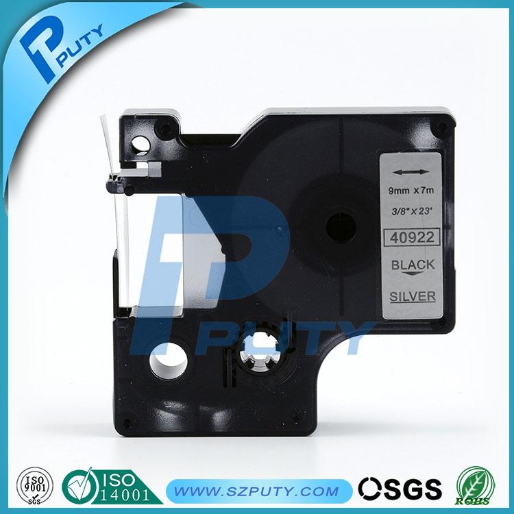 high-quality compatible d1 40922 9mm Black Sliver label tape dymo label maker