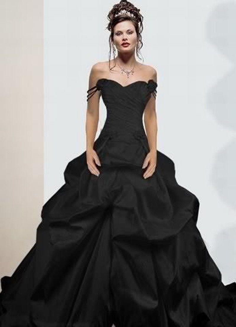 sweetheart pleated side draped chapel train taffeta ball gown black wedding dress gothic wedding. Black Bedroom Furniture Sets. Home Design Ideas