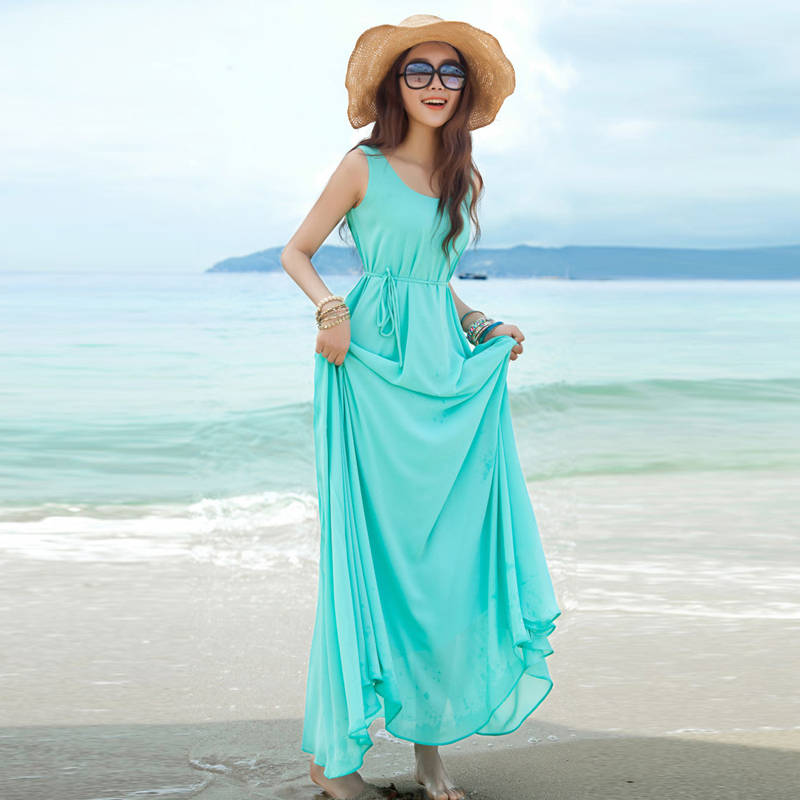 Bohemian Pregnant Long Dresses Summer Solid Loose Sky Blue O-Neck Sleeveless Maternity Beach Mix Dresses For Pregnant Women(China (Mainland))