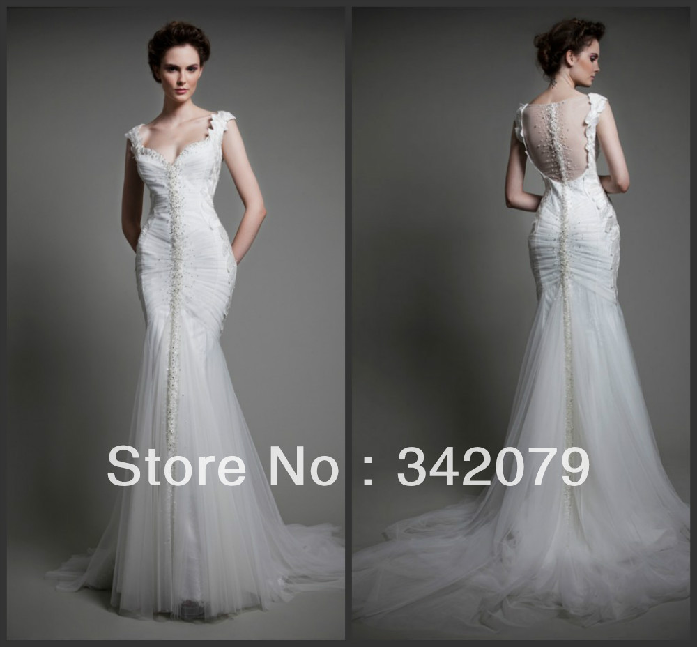 ph09505 haute couture tony ward wedding gown in sequined Tulle and Macrame leaves echoing the curves of the body mermaid dress(China (Mainland))
