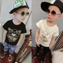 Retail New Korean Fashion Children Clothes Hot Selling Tiger Pattern Print Handsome Short Sleeve Casual Shirts For Boys 2-8Y