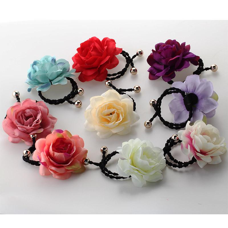 2016 New Original Chinese Rose Flower Hair Accessories Headdress Girls Beautiful Gum for Hair Women Elegant Elastic Hair Bands(China (Mainland))