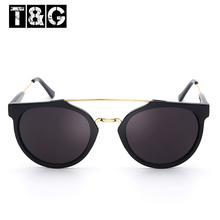 Super Vintage Glasses Retro 80's Caffelatte Sunglasses Female Round Shape Withe Meal Stripe Sunglass  Free Shipping