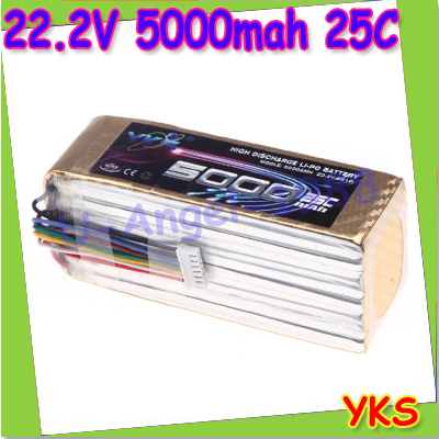 High Power YKS Lipo Battery 22.2V 5000mah 25C MAX 40C XT60 Plug for RC Car Boat Airplane DJI S800 S1000 Multirotor+free shipping