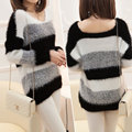 Women Sweater And Pullovers Striped Pullover Pull Femme Crochet Casual Plus Thick Winter Knitted Sweater Jumper