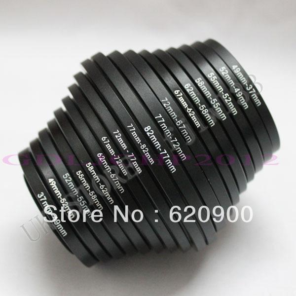 100% GUARANTEE 18pcs Camera Lens Filter Step Up & Down Ring Adapter For Canon Nikon sony all camera DSLR