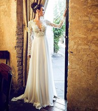 Buy elegant beach wedding dresses 2017 long sleeve low v neck appliques lace boho bridal gown marry party gown vestido novia for $186.80 in AliExpress store