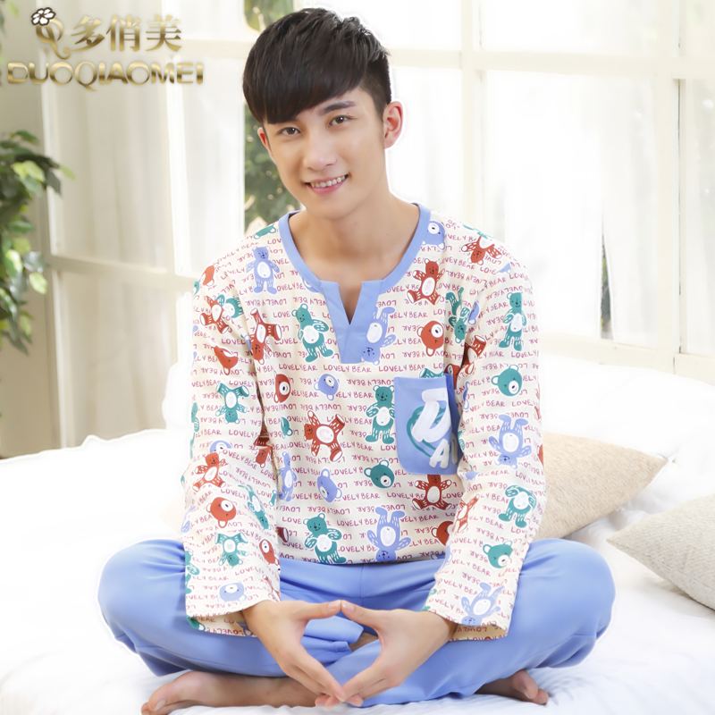 People male sleepwear spring autumn 100% cotton cartoon long-sleeve lounge set pullover home service casual - LL fashion show store