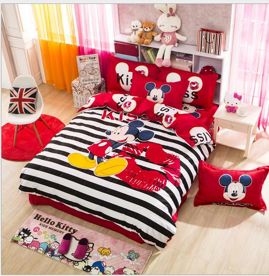 3/4 pcs cotton bedding sets cartoon bed sheet bedspread twin/queen/king mickey mouse comforter set(China (Mainland))