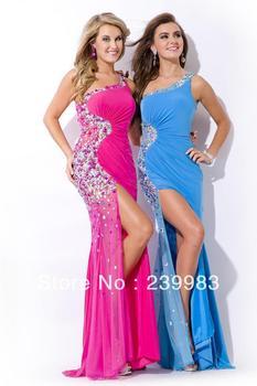 2014 New Sexy Mermaid One-shoulder Rhinestone Sparkle Beads Sequins Floor-length Evening Dress Prom Dress Custom Made