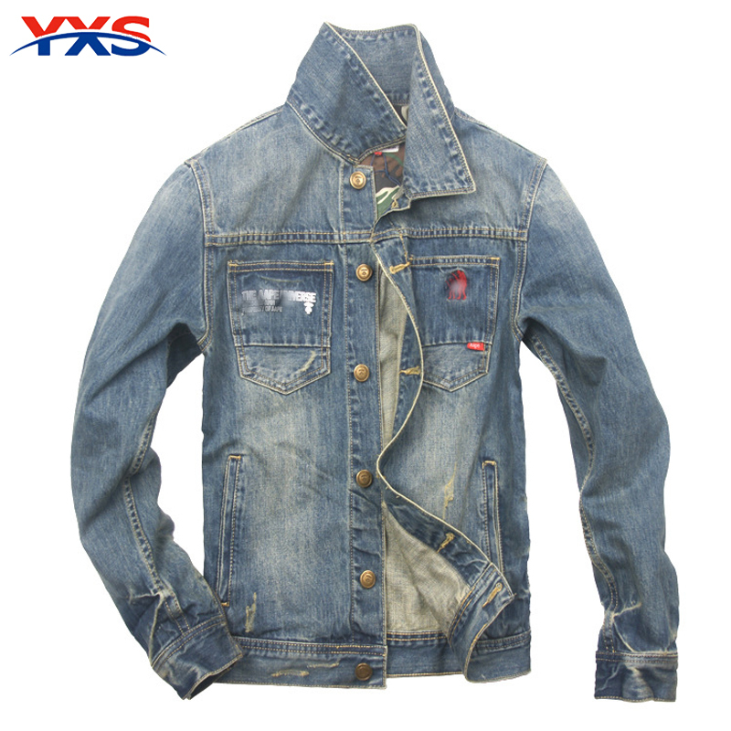 YXS-P16 2015 New Fall Men'S Jackets Washed Slim Fit Tide Coat Men'S Casual Fashion Brand Named Denim Jacket chaqueta hombre(China (Mainland))