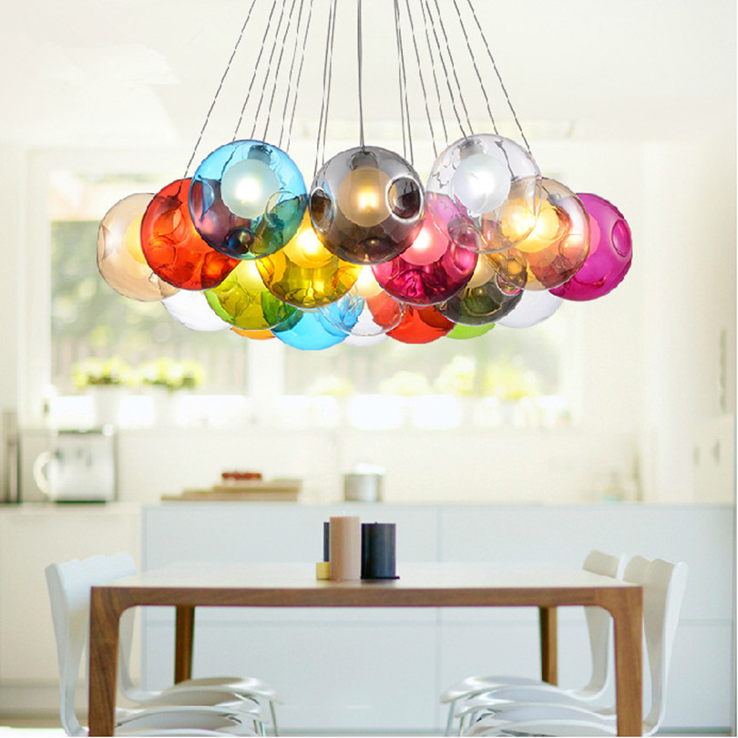 2015 Unique Design Double Lampshade Colorful Bump Glass Bubble Led Chandelier Dining Room Modo Chandelier With Led Source