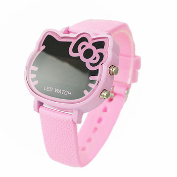 2014 Hot New Products Fashion Hello Kitty LED Digital Pink Watch For Children/Women Free Shipping