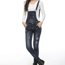 Women New Denim Jumpsuits Ripped Design Jeans Romper With 2 Pockets Casual Overall For Autumn Winter Warm Overalls DXJ8955
