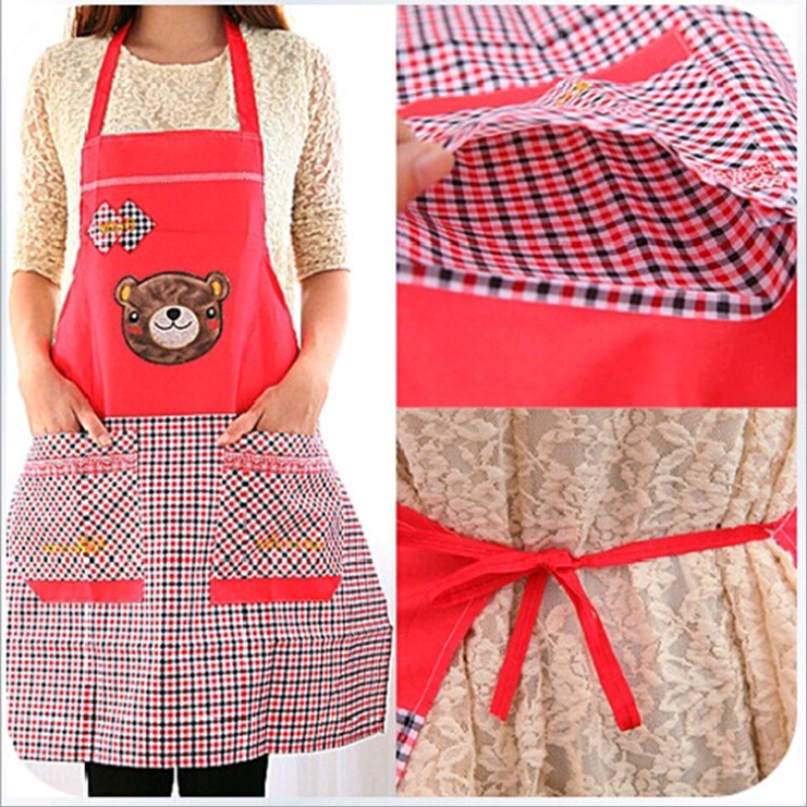 Free shipping Korean version of the cartoon Winnie the apron home fashion essential oil stain color optional(China (Mainland))