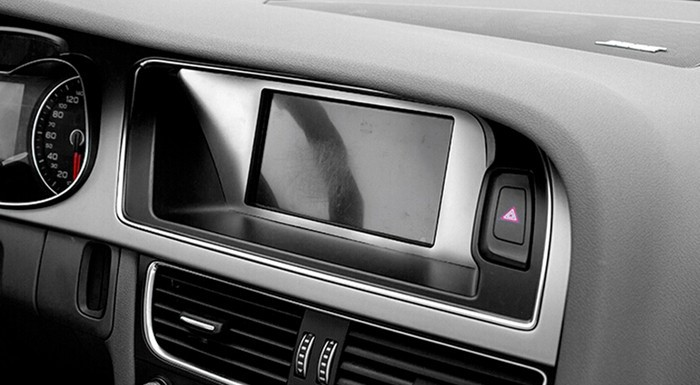 Car center console navigation decorative frame cover trim warning light panel interior stainless steel strip 3D sticker for Audi A3 (8)