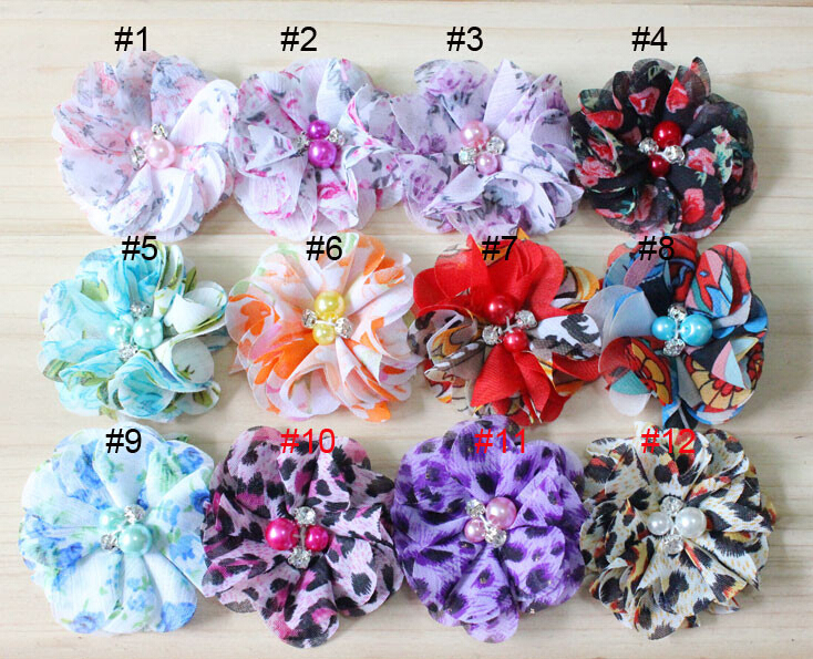 """2"""" Cheap floral print chiffon flowers w/rhinestone and pearl for baby toddle girls hair accessories 100pcs/lot(China (Mainland))"""