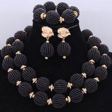 אופנה אפריקאית חרוזים סטי עבודת יד כדורי ניגרי כלה שרשרת תכשיטי סט 2017 סגול 2 שכבות תכשיטים(China)