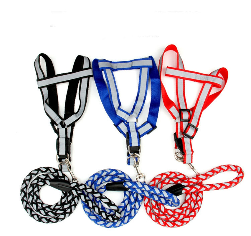 Factory price small size pet durable Chest back type Reflective cloth Adjustable Dog Harness Collar Leash Lead Rope Belt(China (Mainland))