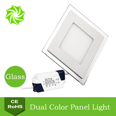 Square AC85-265V 10W 15W 20W White+Blue Double Color LED Glass Panel Light Energy Saving Ultra Bright Kitchen Light Ceiling Lamp(China (Mainland))