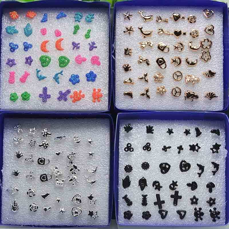 18 Pairs/Set Earrings Studs Pin Jewellery Heart Cross Dolphin Star Moon M575 @M23(China (Mainland))
