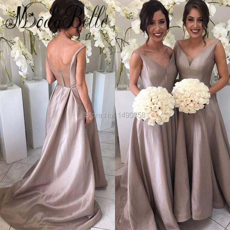 2017 Grecian Champagne Color Bridesmaid Dresses Satin A Line Prom dress Arabic Bruidsmeisje Jurken Voor Volwassenen Plus Size(China (Mainland))