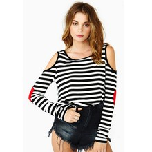 Women T-Shirt 2016 Spring Summer Camisetas Mujer Striped Tee Shirt Femme Patch Stitching Camiseta Feminina Sexy Tops Female - Only Queen store