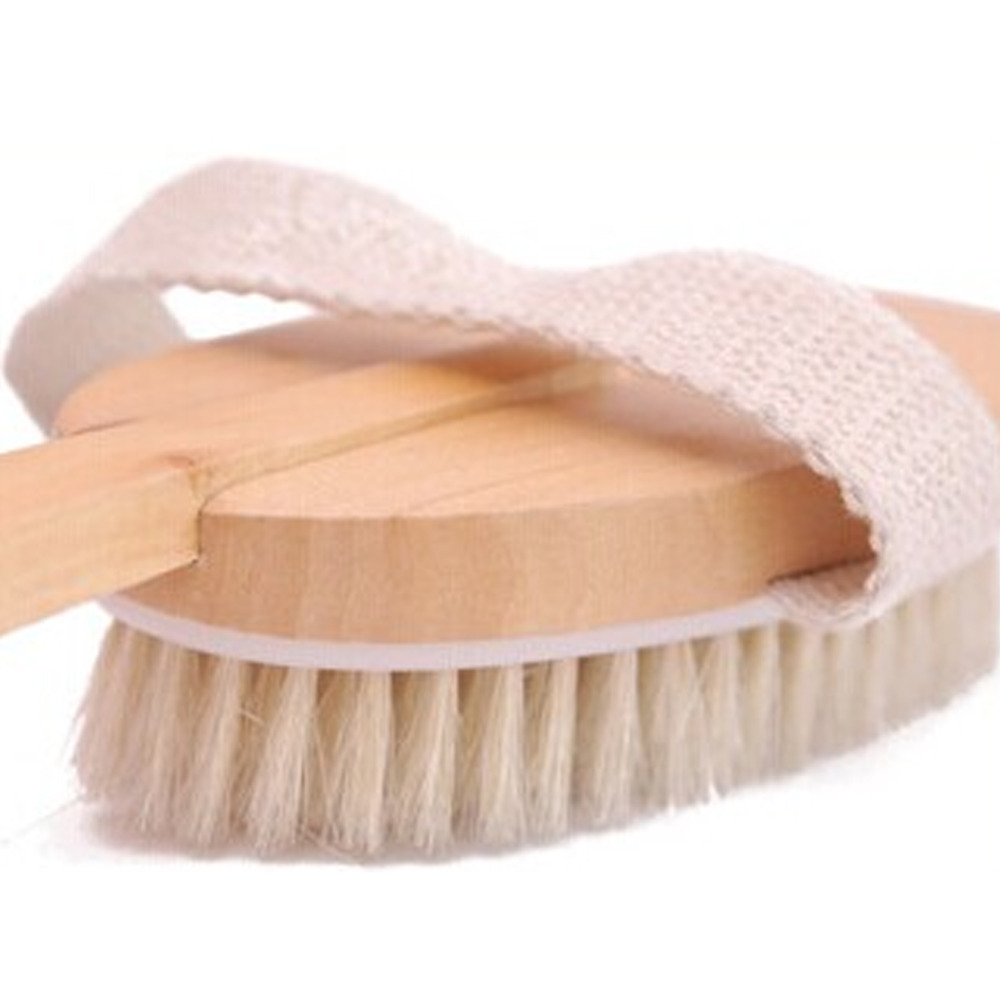Natural Wooden Body Brush Massage Bath Shower Back Spa Scrubber(China (Mainland))