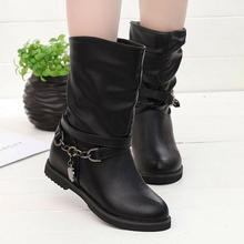 New 2016 Women's Flats Martin Boots Autumn Boots Warm Plus Size 34~40 PU Leather Shoes Woman Wholesale Free Shipping(China (Mainland))