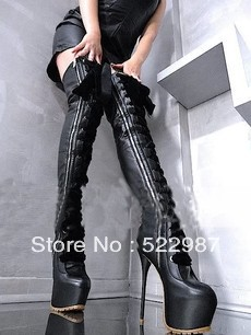 2014 Newly leather Thigh high boots Ultra heels platform winter long Thin leg women - Rose's Boutique store