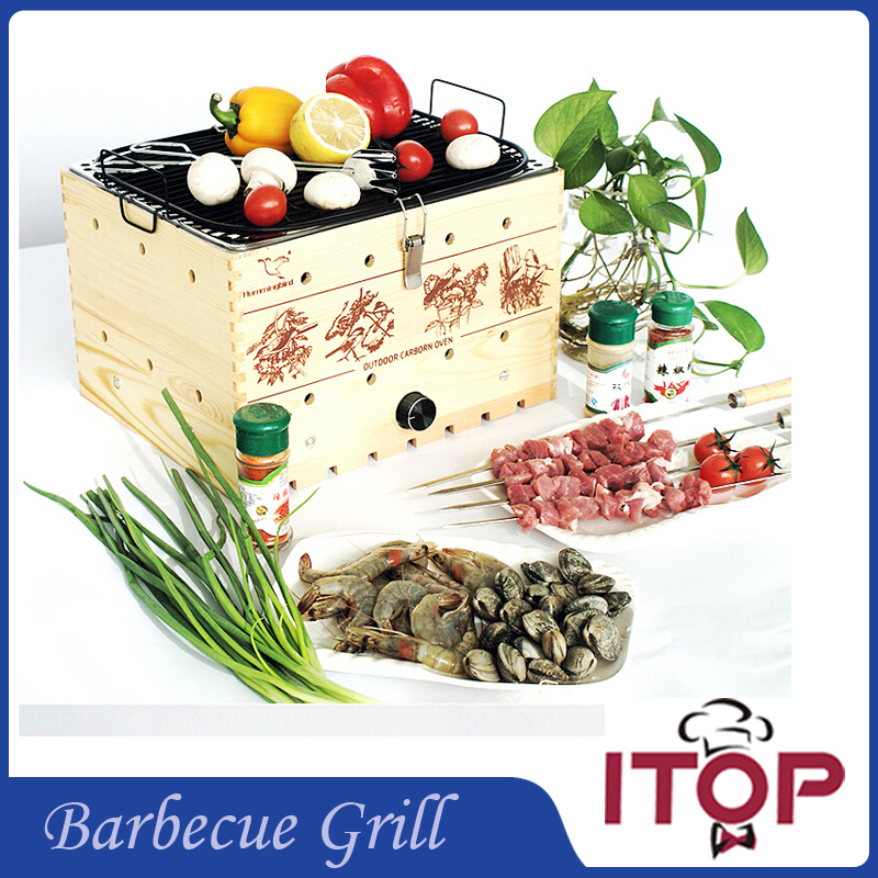 New Arrival! Wooden BBQ Grill Barbecue Oven Charcoal Kebab Camping Pinic Party Outdoor Tool Durable Easy-cleaning(China (Mainland))