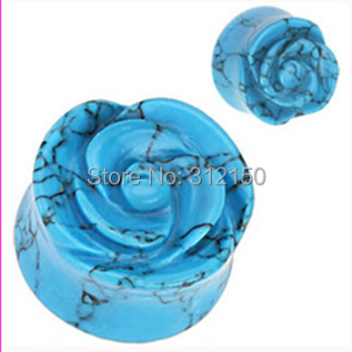 12pcs/lot Free Shipping 6 sizes 8-16mm Blue Rose Flower Solid Carved Rose Flower Turquoise Stone Flesh Tunnel Stone Ear Plug(China (Mainland))