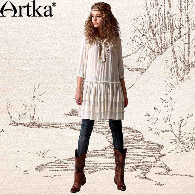 Artka Women's Gypsy Ethnical Embroidered Shrring Detail Loose 3/4 Cropped Sleeve White Long Blouse Dress LA10747C(China (Mainland))