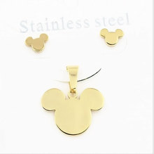 Mickey stainless steel pendant earrings necklaces  Jewelry Sets 2014 new women's accessories free shipping