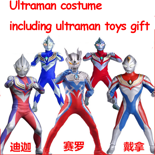 New 2015 Fantasia Child Baby Boy Halloween Costume Cosplay Lycra Jumpsuit Ultraman Costume With Ultraman Toys Gift(China (Mainland))