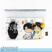 Fashion Anime Japanese ATTACK ON TITAN theme  Pencil Case zipper Flat A4 Size practical briefcase(China (Mainland))