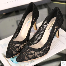 Size 31-41 Sexy Flowers Lace Women Pumps Thin Heels Cutout Satin Fabric High Heels Wedding Shoes Pointed Toe Bride Pumps(China (Mainland))