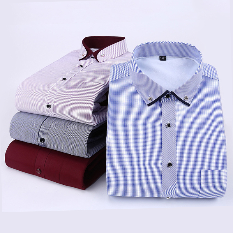 2017 Brand Mens Casual Office Business Shirt Mens Warm Shirt Thickening Plush Cashmere Fleece Plus Size Super Warm Thick MT348(China (Mainland))